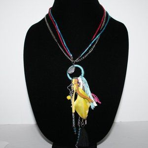 Beautiful colorful tassel boho necklace